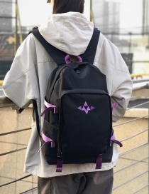 Fashion Black Embroidered Triangle Backpack