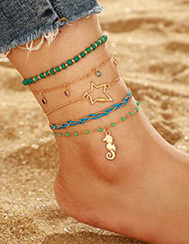Fashion Golden Irregular Star Small Hippocampus Multi-layer Rice Beads Fringed Anklet