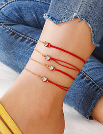 Fashion Red Multilayer Heart Shaped Anklet With Diamonds 4-piece Set