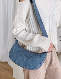 Fashion Blue Furry Wide Shoulder Strap Cross Body Bag