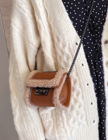 Fashion Brown Trumpet Plush Stitched Frosted Chain Cross-body Shoulder Bag