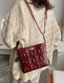 Fashion Red Wine Chain Shoulder Bag