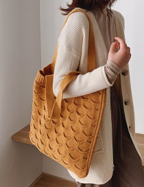 Fashion Yellow Woven Shoulder Bag