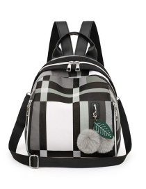 Fashion Gray With Pendant Contrast Check Backpack