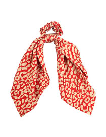 Fashion Red Leopard Print Chiffon Knotted Hair Ring