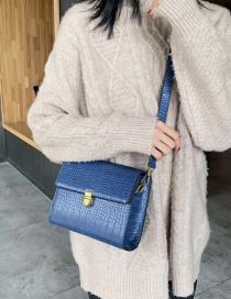 Fashion Blue Snakeskin Crossbody Bag