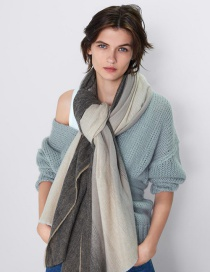 Fashion Color Gradient Raw Scarf