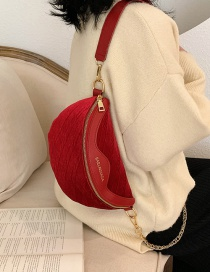 Fashion Red Chain Stitching Shoulder Cross Body Chest Bag