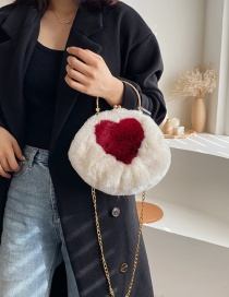 Fashion White Contrast Heart-shaped Plush Clip-on Shoulder Bag