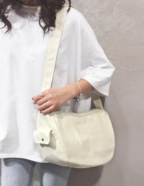 Fashion White Solid Color Panel Canvas Crossbody Bag