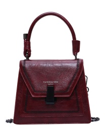 Fashion Red Wine Lock Chain Embroidered Cross-body Bag