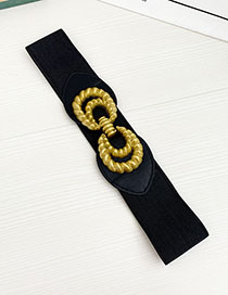 Fashion Black Alloy Elastic Belt