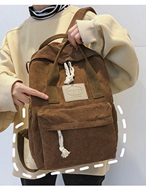 Fashion Brown Labeled Contrast Ribbon Backpack