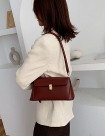 Fashion Wine Red Locked Edging Shoulder Bag