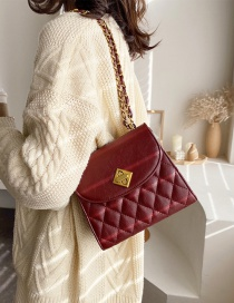Fashion Red Wine Diamond Chain Shoulder Bag