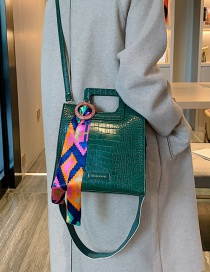 Fashion Green Streamer Snakeskin Shoulder Strap Crossbody Bag