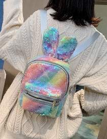 Fashion Rainbow Sequined Bunny Ears Backpack