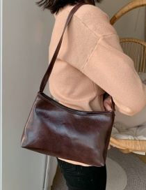 Fashion Dark Brown Soft Leather Shoulder Bag