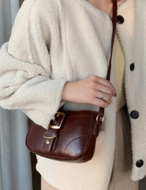 Fashion Dark Brown Locked Crossbody Shoulder Bag