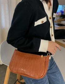Fashion Light Brown Croc-embossed Chain Shoulder Bag
