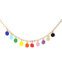 Fashion Color Bead Geometric Necklace