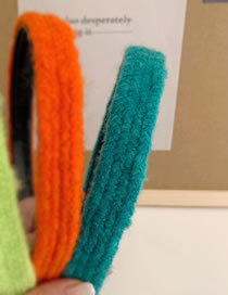 Fashion Lake Green Pure Color Braid Wool Headband