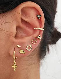 Fashion Golden Cross Lightning Scallop Flower Ear Stud Set