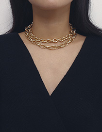 Fashion Golden 2700 Water Ripple Double Necklace