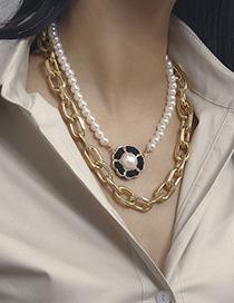Fashion Golden 2750 Pearl Flower Multilayer Necklace