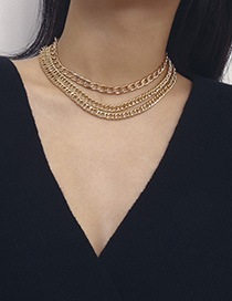 Fashion One Or Three-layer Chain Gold 2724 Thick Chain Geometric Multilayer Necklace