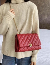 Fashion Red Embroidered Diamond Chain Shoulder Bag