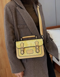 Fashion Yellow Locked Snake-effect Contrast Shoulder Bag