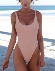 Fashion Pink Solid Color One-piece Swimsuit