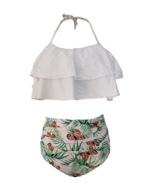 Fashion White Ruffled Printed Pleated High Waist Split Swimsuit