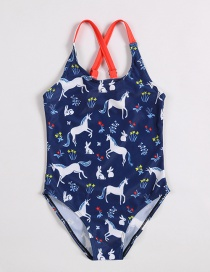 Fashion Navy Printed Horse And Rabbit One-piece Swimsuit