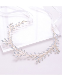 Fashion Golden Crystal Leaf Headband