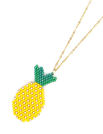 Fashion Yellow Rice Beads Woven Pineapple Necklace