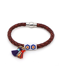 Fashion Brown Rice Beads Woven Fringed Leather Bracelet