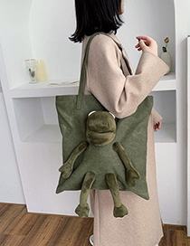 Fashion Armygreen Frog Doll Canvas Bag Shoulder Bag