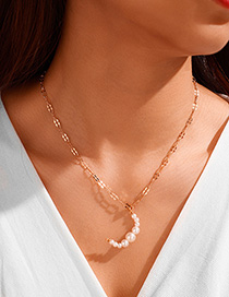 Fashion Golden Moon Pearl Multilayer Necklace