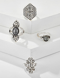 Fashion Silver Hollow Carved Gray Stone And Diamond Geometric Ring Set