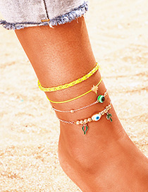 Fashion Yellow Hot Air Balloon Lightning Coconut Multilayer Anklet Set