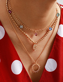 Fashion Golden Crystal Leaf Sun Hollow Round Three Layers Necklace