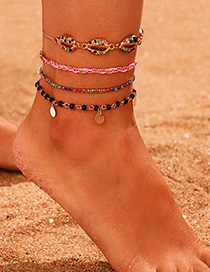 Fashion Color Color Diamond Round Shell Anklet Set