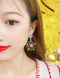 Fashion Red Flower Crystal Earrings