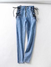 Fashion Blue Washed Stretch-strap Jeans