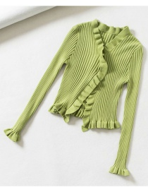 Fashion Green V-neck Rib Knit Buttoned Fungus Cardigan Sweater