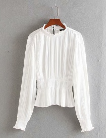 Fashion White Pleated Ruffled Elastic Waist Shirt