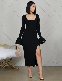 Fashion Black Flared Sleeve Square Collar Dress