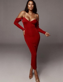 Fashion Red Open-back Strapless Strapless Dress
